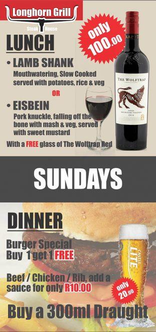 Longhorn Grill Table Sunday